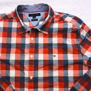 Tommy Hilfiger red blue plaid casual button down